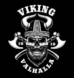 viking skull with axes vector image vector image
