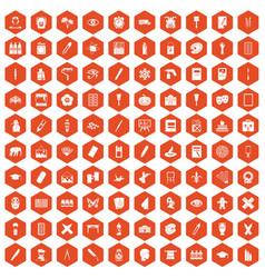 100 paint school icons hexagon orange vector