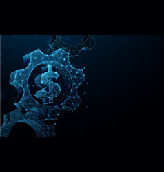 3d gears with money sign from wireframe vector image