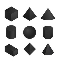 3d geometric shapes set vector image