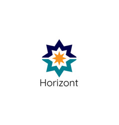 abstract sun star horizon logo template modern vector image