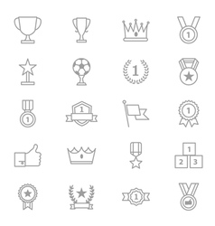 Award and Trophy Icons Line Set vector