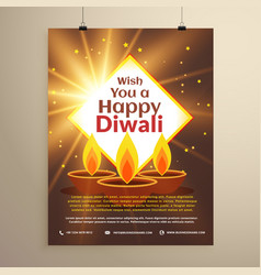 Awesome happy diwali festival invitation flyer vector
