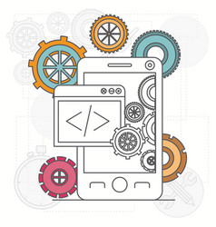 Background with smartphone apps and tools vector