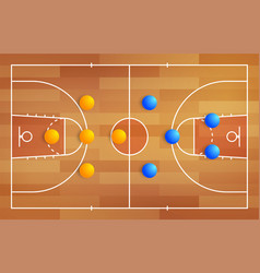basketball court with a tactical scheme vector image