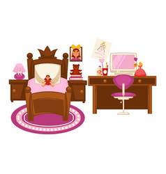 Bedroom of little girl vector