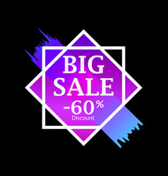 big sale 60 percent discount background with ink vector image
