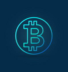Bitcoin coin blue icon in outline style vector