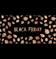 black friday rose gold copper foil text vector image