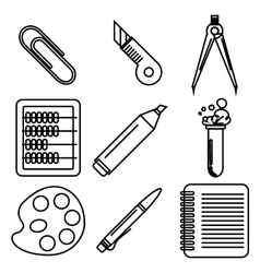 Black school goods black ink icons Part 2 vector