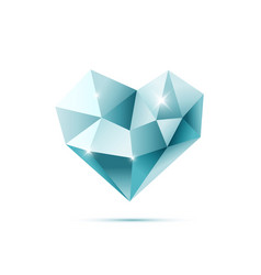 blue crystal heart with reflections vector image