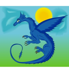 Blue dragon in the sky vector