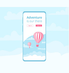 Booking mobile application hot air balloon graphic vector