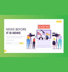 breaking news program concept landing page vector image