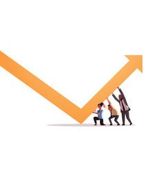 Businesspeople pushing growing arrow teamwork vector