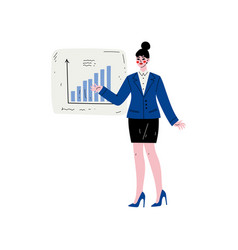 businesswoman wearing formal clothes pointing at vector image