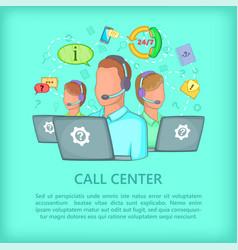 Call center concept team cartoon style vector