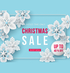 Christmas sale banner with decorative snowflakes vector
