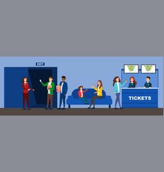 cinema interior with customers and workers selling vector image