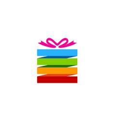 Color gift logo icon design vector