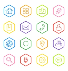 Colorful line web icon set hexagon vector