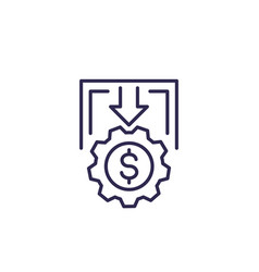 Cost reduction or cutting line icon vector
