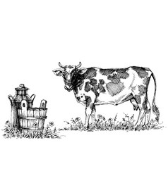 Cow and milk set vector