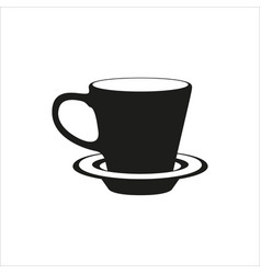 cup and saucer - icon in simple monochrome style vector image
