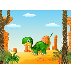 Cute baby dinosaur with desert background vector