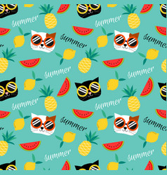 cute cat and summer fruit seamless pattern vector image