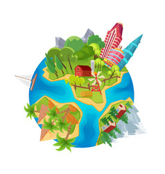Cute earth planet with city skyscrapers farm vector