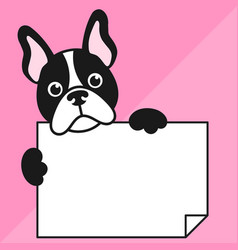 Cute french bulldog with sheet of paper vector