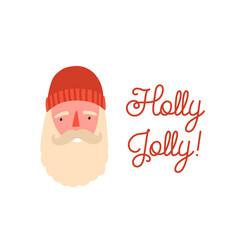 cute santa claus face flat vector image