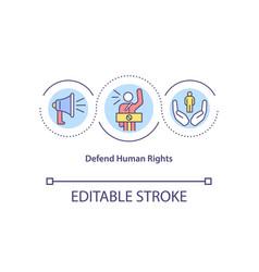 Defend human rights concept icon vector