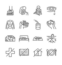 Destitution line icon set vector