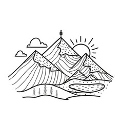 Doodle style with man on top mountains vector