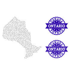Dotted map of ontario province and textured seal vector