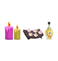 essential aromatic oil bottle and candles for spa vector image