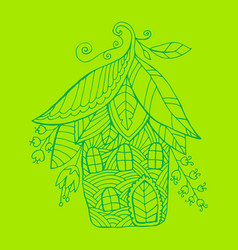 fairy house in the form of flowers and leaf vector image