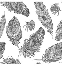 feather seamless pattern feathers on a white vector image