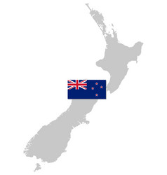 flag and map new zealand vector image