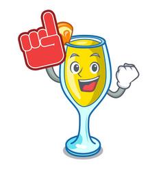 Foam finger mimosa mascot cartoon style vector