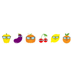 Fruit berry vegetable face sunglasses icon set vector