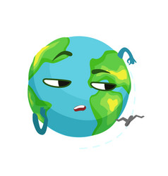 funny boring earth planet character and airplane vector image