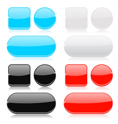 glass buttons collection round square and oval vector image