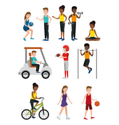 Group of athletes practicing sport vector
