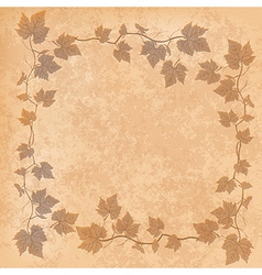 Grunge with grape leaves on beige background vector