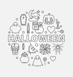 halloween round in thin line vector image