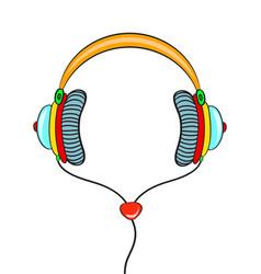 hand drawn comic headphones on white background vector image