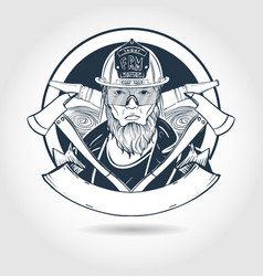 hand drawn sketch fireman vector image